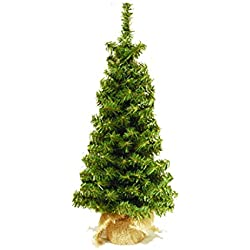 36 Inch Tabletop Christmas Pine Tree with Burlap Wrapped Base, Artificial Pine Tree