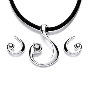 Rocio Illumini Limited Edition Alcor Rhodium Plated Silver Noir Swarovski Zirconia Stylish Set with Pendant on  45cm Velvet Cord and Matching Earrings