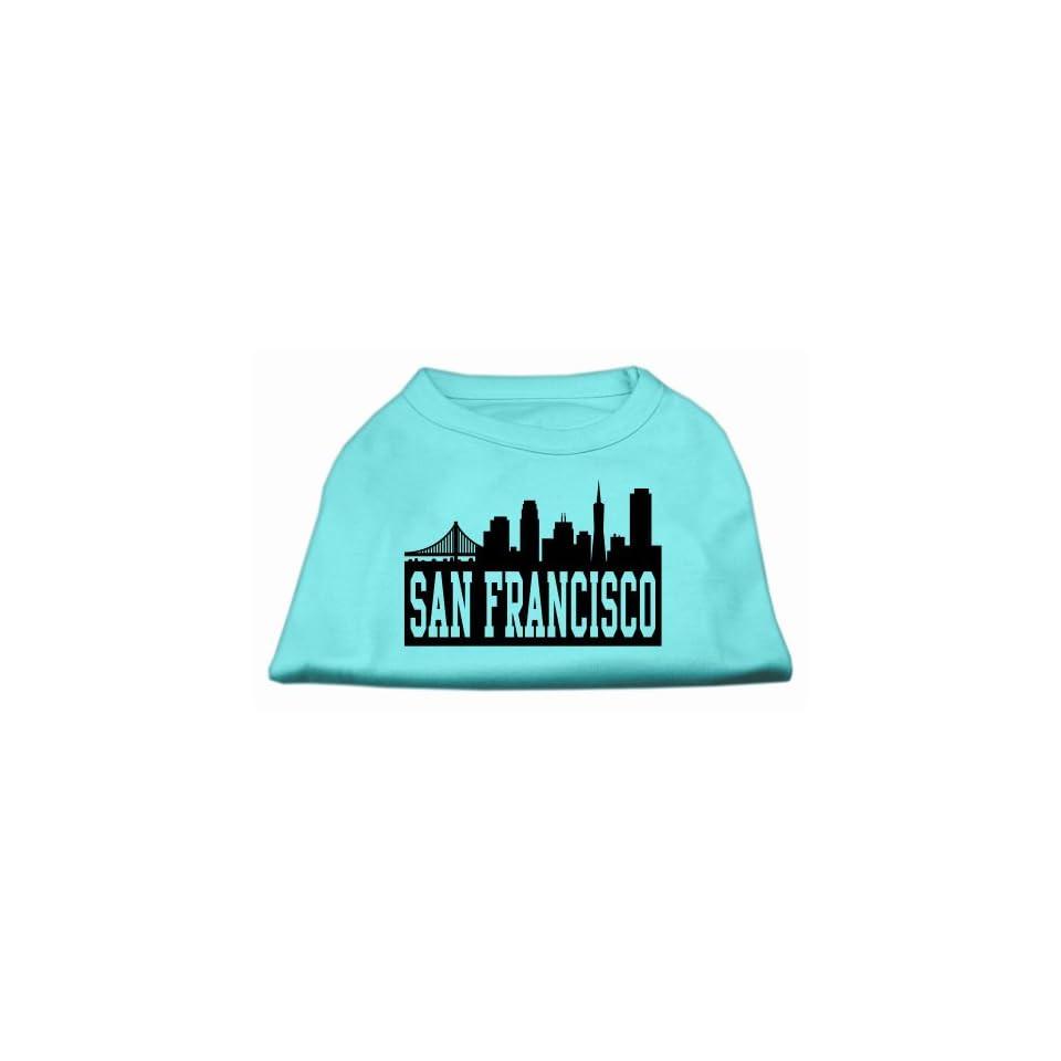 Mirage Pet Products 14 Inch San Francisco Skyline Screen Print Shirt for Pets, Large, Aqua