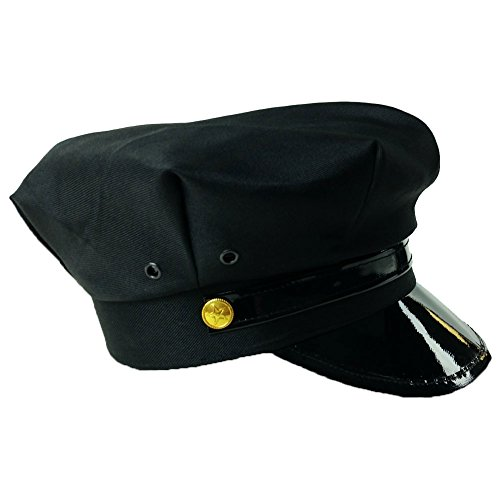 Black Chauffeur Taxi Limo Driver Costume Hat Cap