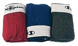 Champion Men\'s 3Pk Knit Boxers, Dark Grey/Blue/Red, Medium