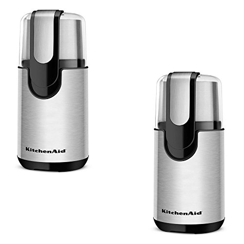 KitchenAid 4 oz Onyx Black Coffee Grinder - KitchenAid Model - BCG111OB - Set of 2 Gift Bundle