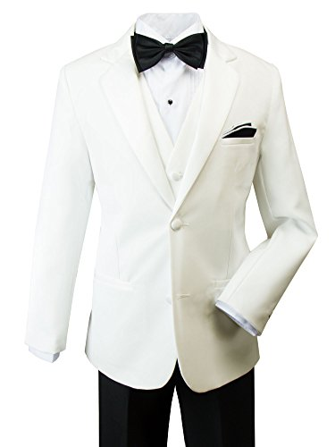 Spring Notion Little Boys` Modern Fit Tuxedo Set, No Tail 2T Off-White Jacket/Black Pants