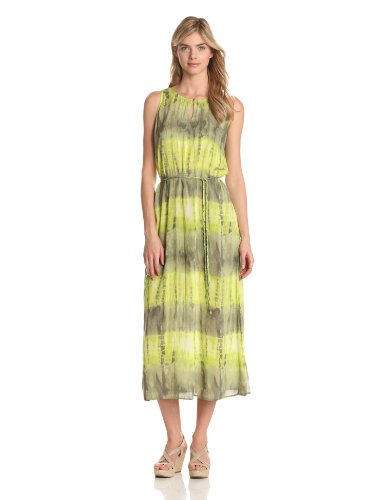 Two by Vince Camuto Women's Tie Waist Maxi Dress, Bright Palm, Medium