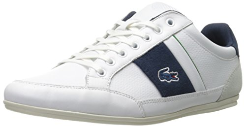 Lacoste Men's Chaymon 216 1 Fashion Sneaker, White/Navy, 11 M US