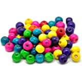 "Rockin Beads Brand, Mixed Color Painted Wood Round Spacer Beads 8x6mm (3/8""x1/4""), Sold Per Pack of 1000"