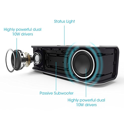 Bluetooth-Speakers-TaoTronics-Boom-X-Stereo-20W-Speaker-Dual-10W-Drivers-Dual-Passive-Subwoofers-Strong-Bass-Aluminum-Alloy-Bluetooth-40-Built-in-Microphone-Wireless-Portable-Speaker