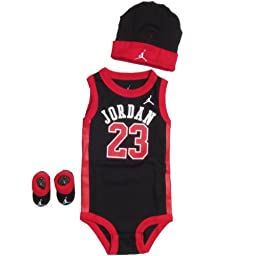 Michael Jordan 3-Piece Infant Set Size 0-6 Months In Black and Red