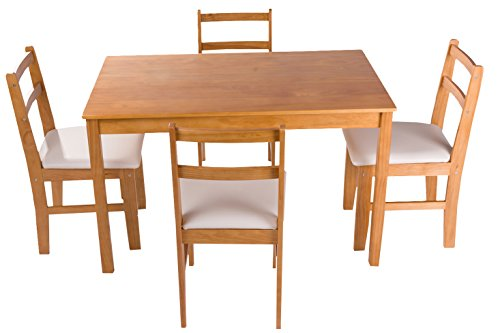 dinning dinette 4 person table and chairs set soild pine wood dining