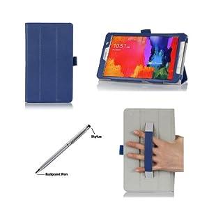 ProCase Samsung Galaxy Tab Pro 8.4 Tablet Case with bonus stylus pen - Tri-Fold Smart Cover Case for TabPRO 8.4 inch (SM-T320) (Navy, Dark Blue)