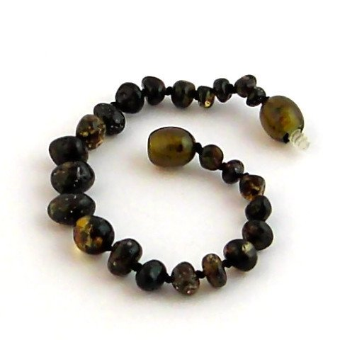 "Hazelaid (TM) 5.5"" Baltic Amber Dark Green Bracelet"
