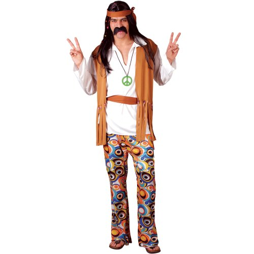 Mens Woodstock Hippie Costume. Includes waistcoat/shirt, belt, CND medallion, psychedelic trousers - 4 Sizes available.