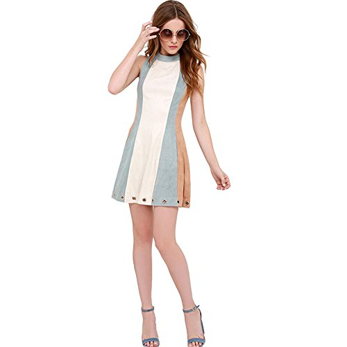 [MasiMiele Stitching High-Necked Sleeveless Dress (S)] (Elf Outfit For Women)