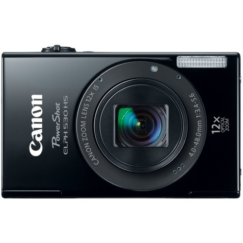 Canon PowerShot ELPH 530 HS 10.1 MP Wi-Fi Enabled CMOS Digital Camera with 12x Optical Image Stabilized Zoom 28mm Wide-Angle Lens with 1080p Full HD Video and 3.2-Inch Touch Panel LCD (Black)