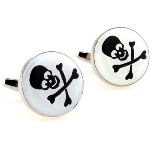 Beour White-gold-plated-silver Black Skull Copper Round Cufflinks
