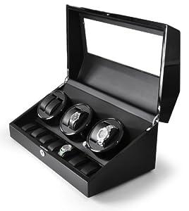 Klarstein Old Marshall 13 Watch Display Case (Watch Winder, 2 Rotation Modes & Quiet Motor) - Black