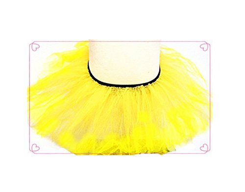 Pink - Girls Basic Ballerina Tutu Ballet Dress-up 3 Layer Tulle Skirt (Yellow)