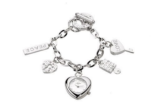 Chronostar Fashion Silver Alloy Heart Shaped White Dial Watch with Band Bracelet Charms and Crystals