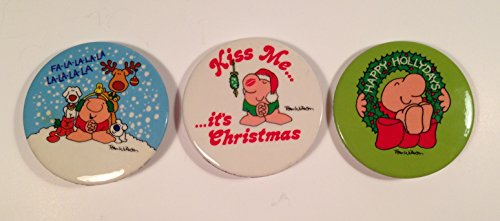 1980s ZIGGY PIN pinback BADGE BUTTON Tom Wilson ~ set of 3 CHRISTMAS Holiday pins - 1