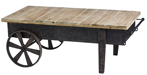 Vintage Industrial Warehouse Wood Plank Metal Railroad Cart Coffe