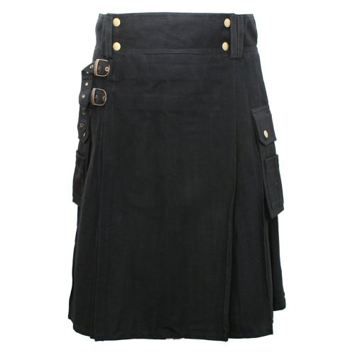 Tartanista - Kilt robusto per uomini intraprendenti - Nero - UK30 (76 cm)