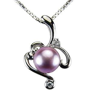 Vine Spiral Lavender Pearl Cubic Zirconia Rhodium Plated Sterling Silver Pendant (No Chain)
