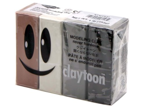 Van Aken Plastalina Modeling Clay 1 lb. neutral tones set of 4 white, ivory, gray, black