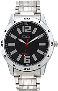 "Dice ""Numbers 4226"" Formal Round Shaped Wrist Watch for Men. Fitted with Beautiful Black Dial and Stainless Steel Chain and Case."