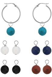 Sterling Silver Interchangeable Drop Hoop Earrings Set