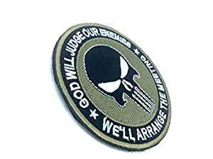 Punisher God Will Judge Our Enemies Bronzage Brodé Airsoft Velcro Patch