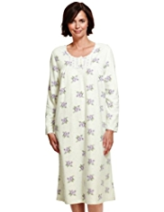 Floral & Spotted Fleece Nightdress