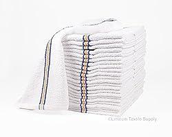Linteum Textile strong & durable cotton Bar Towels SUPER MOPS Kitchen Towels 16x19 in. 24-Pack (2 dozen) Triple Stripe