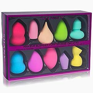 SHANY Makeup Premium Beauty Sponge Blender Puff Set - Latex-free & Vegan , Multipurpose Shapes & Colors - Set of 10 (Color: Multi-Colored)