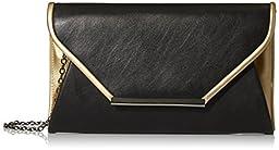 La Regale Faux Leather Envelope Clutch, Black/Sand, One Size