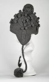 Big Cable Earflap Cap with Fleece Lining Dark Grey