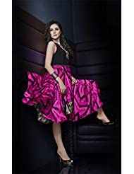 Deepkala Silk Heritage Women's Pink And Black Georgette Printed Kurti