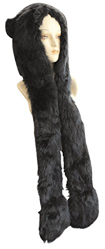 Choose from 25 Different Animals! - Plush Faux Fur Animal Critter Hat Cap - Soft Warm Winter Headwear - Short with Ear Poms and Flaps & Long with Scarf and Mittens available (Black Bear - Hood with Paws Scarf (Bear Hood With Paw Scarf)
