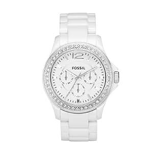 Fossil Women's CE1010 White Ceramic Bracelet White Glitz Analog Dial Multifunction Watch