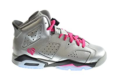 Buy Air Jordan 6 Retro (GG) Big Kids Basketball Shoes Metallic Silver Vivid Pink-Black... by Jordan