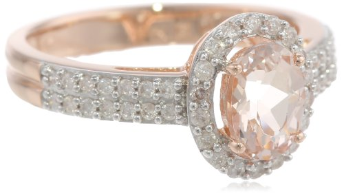 10k Rose Gold Morganite and Diamond Ring (0.33 cttw GH, Color, I1-I2 Clarity)