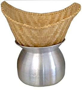 Amazon.com: Thai Lao Sticky Rice Steamer Pot and Basket Cook Kitchen