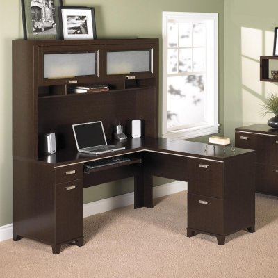 Buy Low Price Comfortable Bush Tuxedo Computer Desk with Optional Hutch – BHI115 (B003ZJ5XO6)