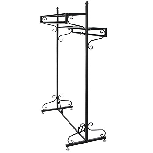 Victorian Style Boutique Clothes / Garment Display Rack w/ Dual Hangrail & Cargo Shelves, Black - MyGift® 2