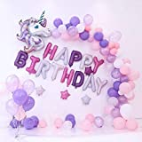 Unicorn party supplies,Unicorn Balloons for birthday party set : 100pcs of 10 Inches Assorted Macaron Candy Colored balloons+ 1 unicorn head+4 pc star+ 1 set of
