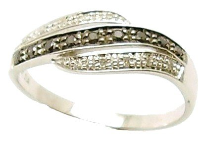 9ct White Gold 0.20CT Black  &  White Diamond Eternity Ring - Size K Comes in a quality ring case for that special gift.