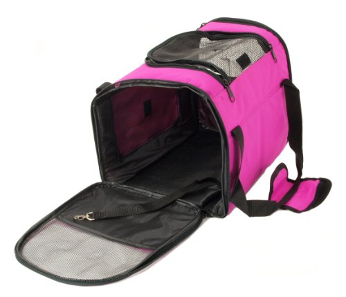Pet Carrier – Dog Cat House Soft Crate Cage Tote Kennel – Portable Travel – Pink
