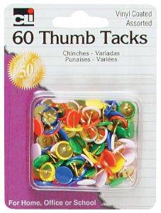 Charles Leonard Thumb Tacks - Assorted Colors - Vinyl Coated - 60/Card, 80991