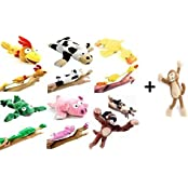 7pc Set Of Slingshot Flingshot Flying Animals With Sound Monkey Brothers Pig Chicken Cow Duck Frog