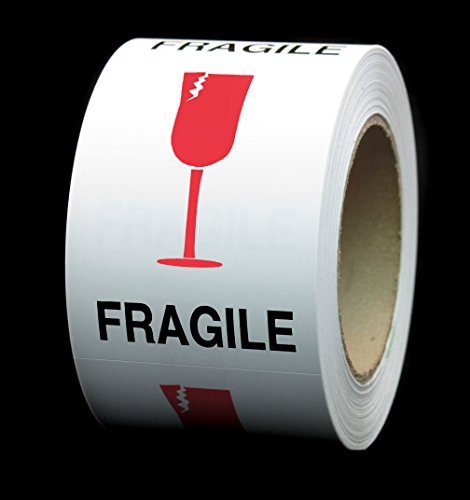 """3x4 in. FRAGILE, Cracked Red Glass, Square International Safe Handling Labels   3"""" x 4""""   500 Stickers/Roll - Permanent, Pressure Sensitive Adhesive"""