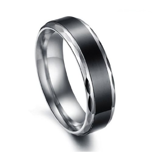 Titanium Stainless Steel Black Vintage Love Couple Wedding Bands Mens Ladies Ring for Engagement, Promise, Eternity (Men's Size 9)